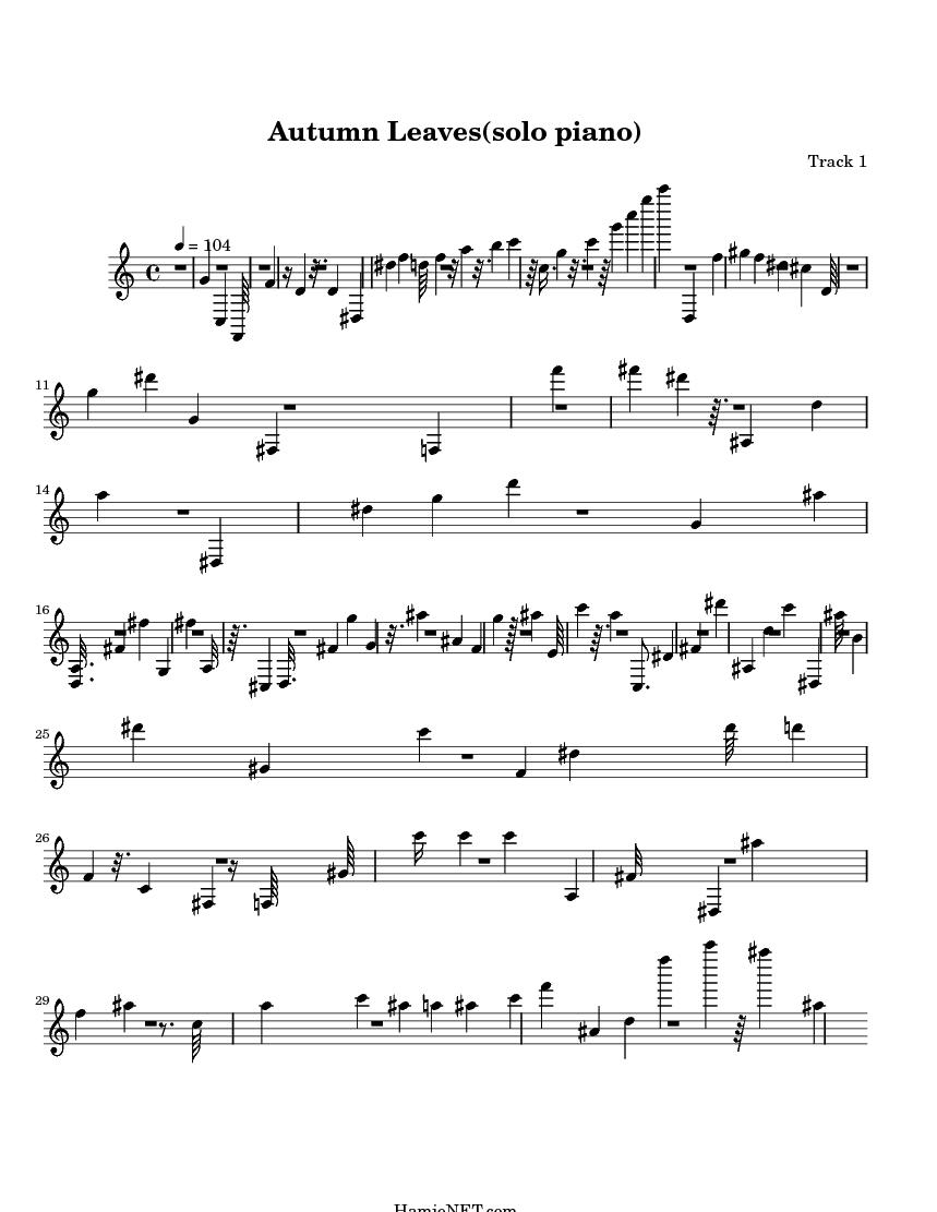 Autumn Leaves(solo piano) Sheet Music - Autumn Leaves(solo piano