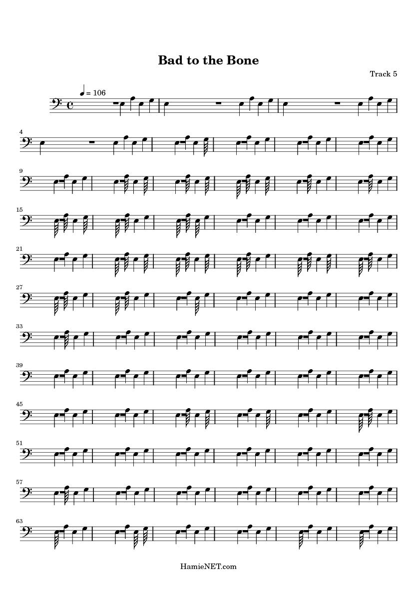 Bad to the Bone Sheet Music - Bad to the Bone Score u2022 HamieNET.com