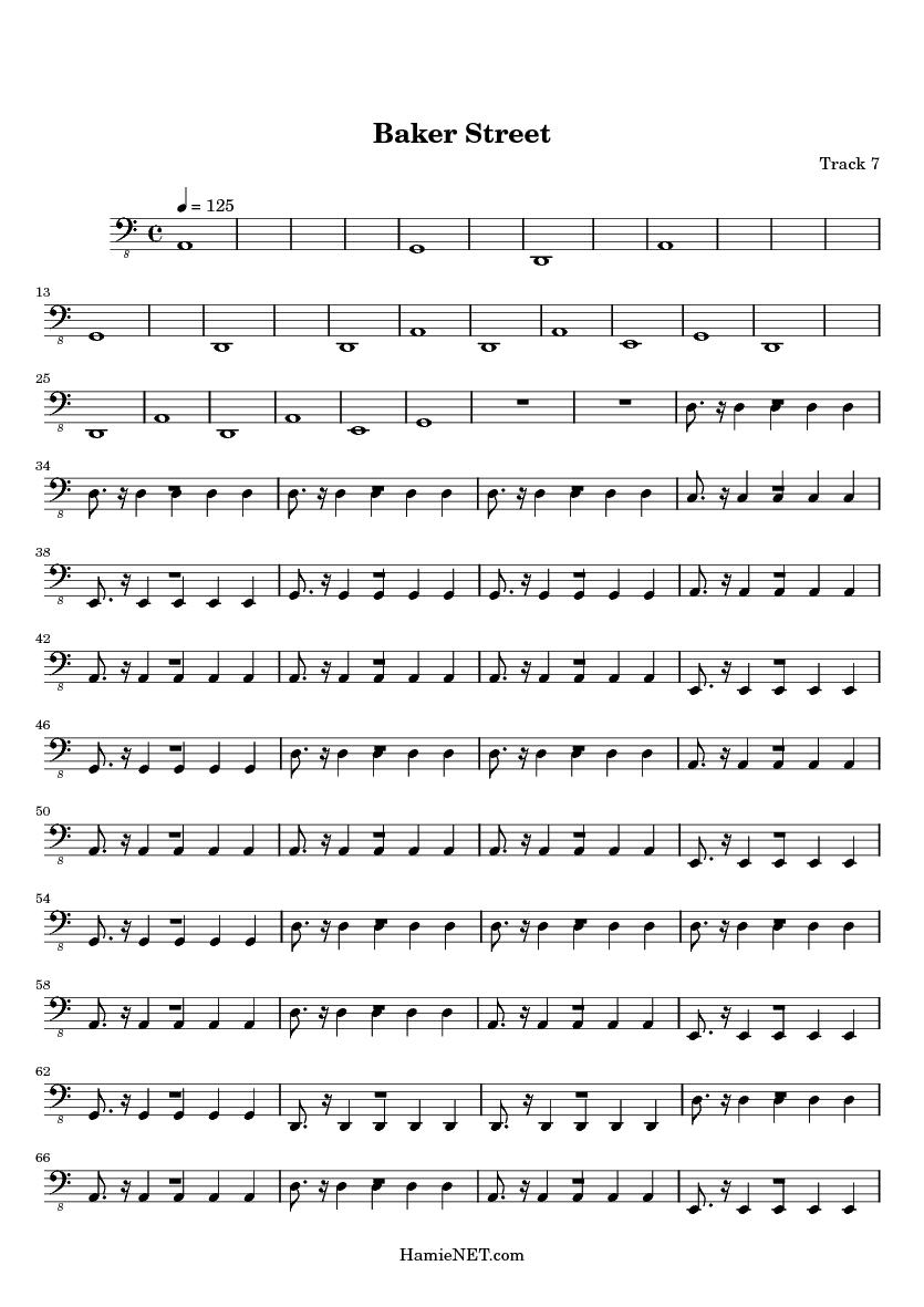 Baker Street Alto Sax Sheet Baker Street Alto Saxophone