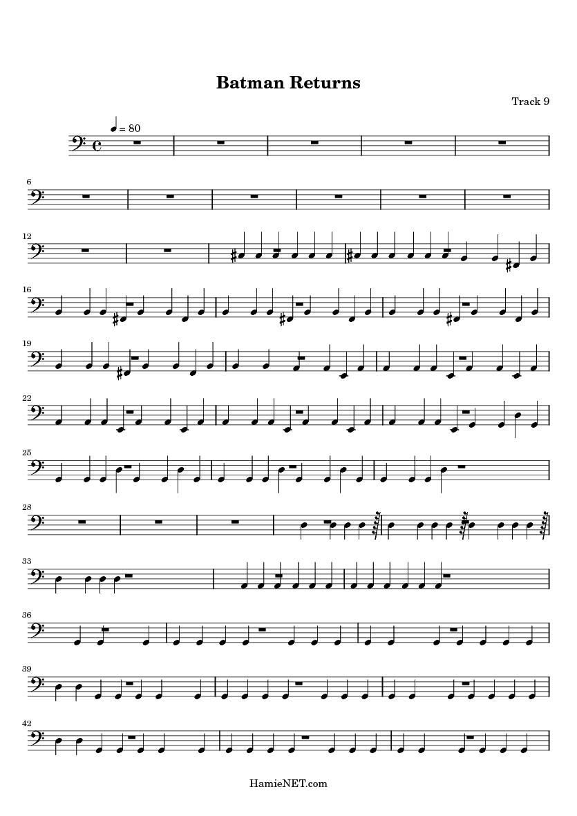 Batman Returns Sheet Music