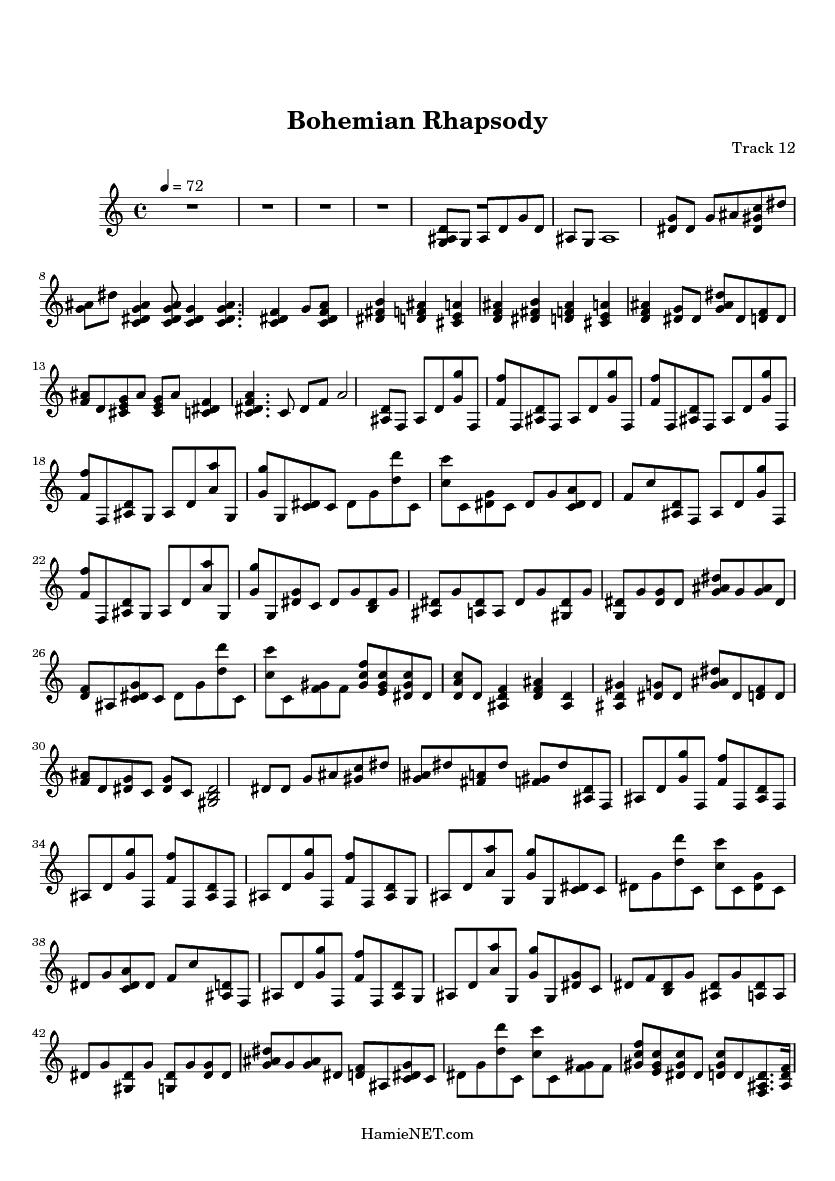 Bohemian rhapsody sheet music pdf