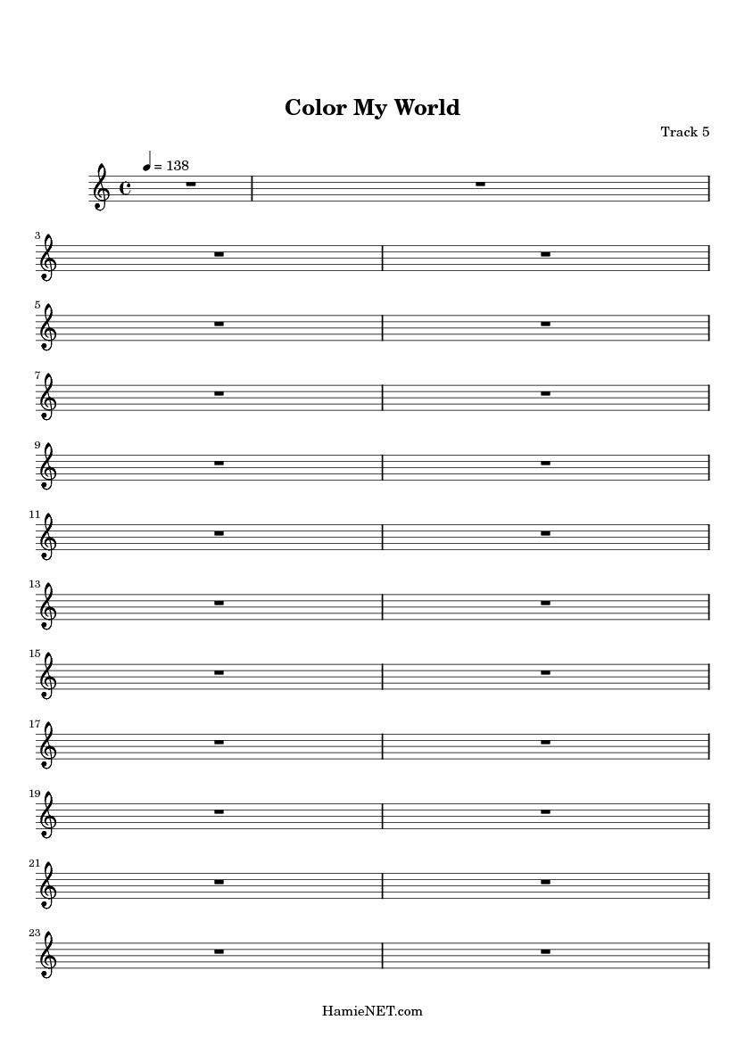 Color My World Sheet Music - Color My World Score • HamieNET.com