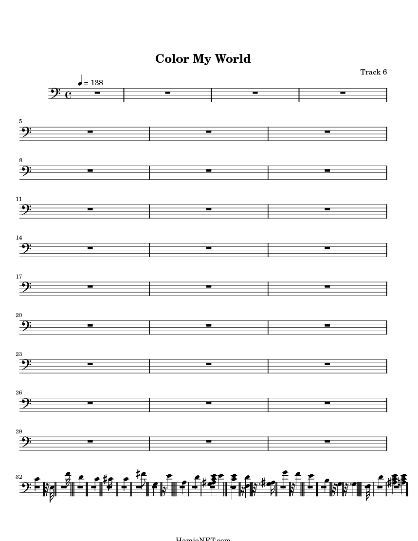 Color My World Sheet Music - Color My World Score • HamieNET.com