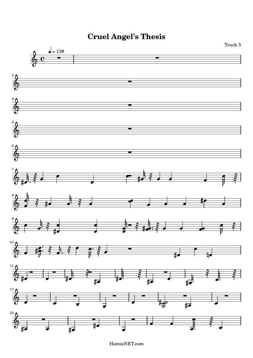 cruel angel thesis chords
