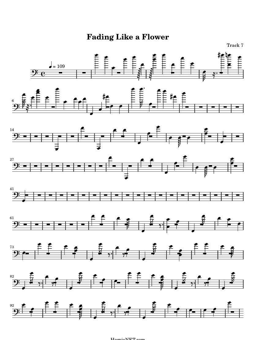 Fading like a flower (klavier + gesang) roxette [pdf noten].