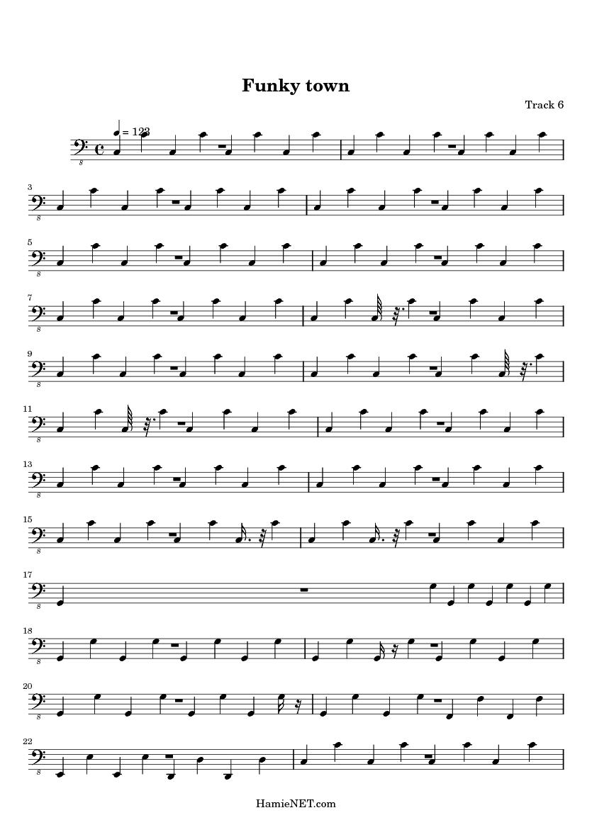 Funky town alto sax sheet music