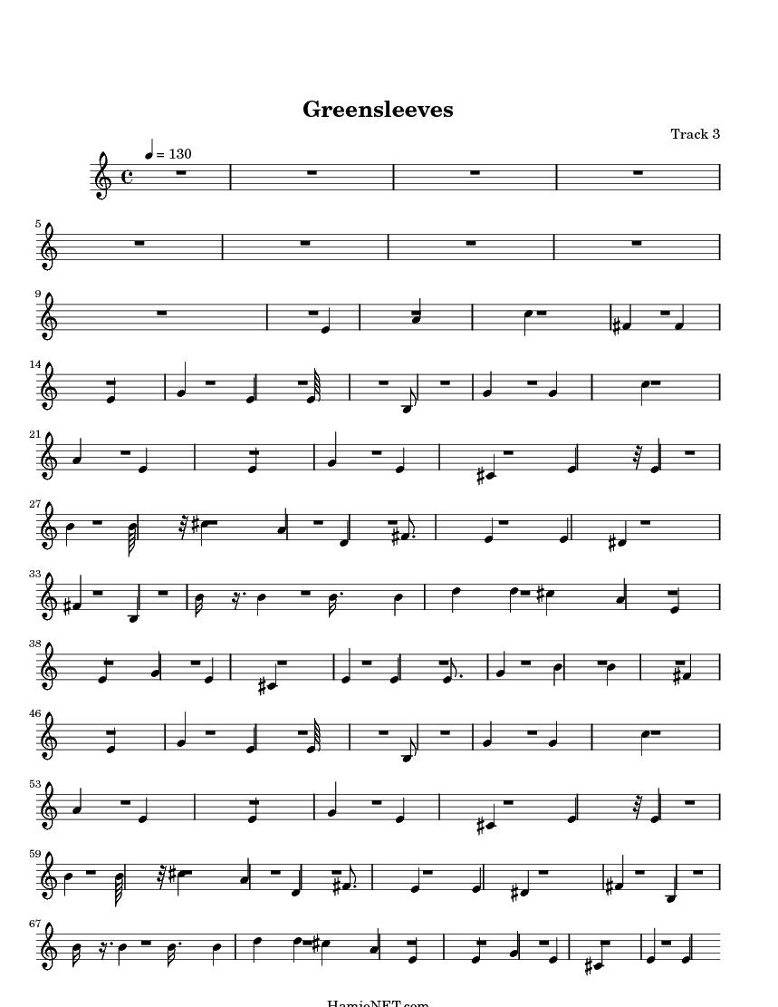 Greensleeves Sheet Music - Greensleeves Score u2022 HamieNET.com