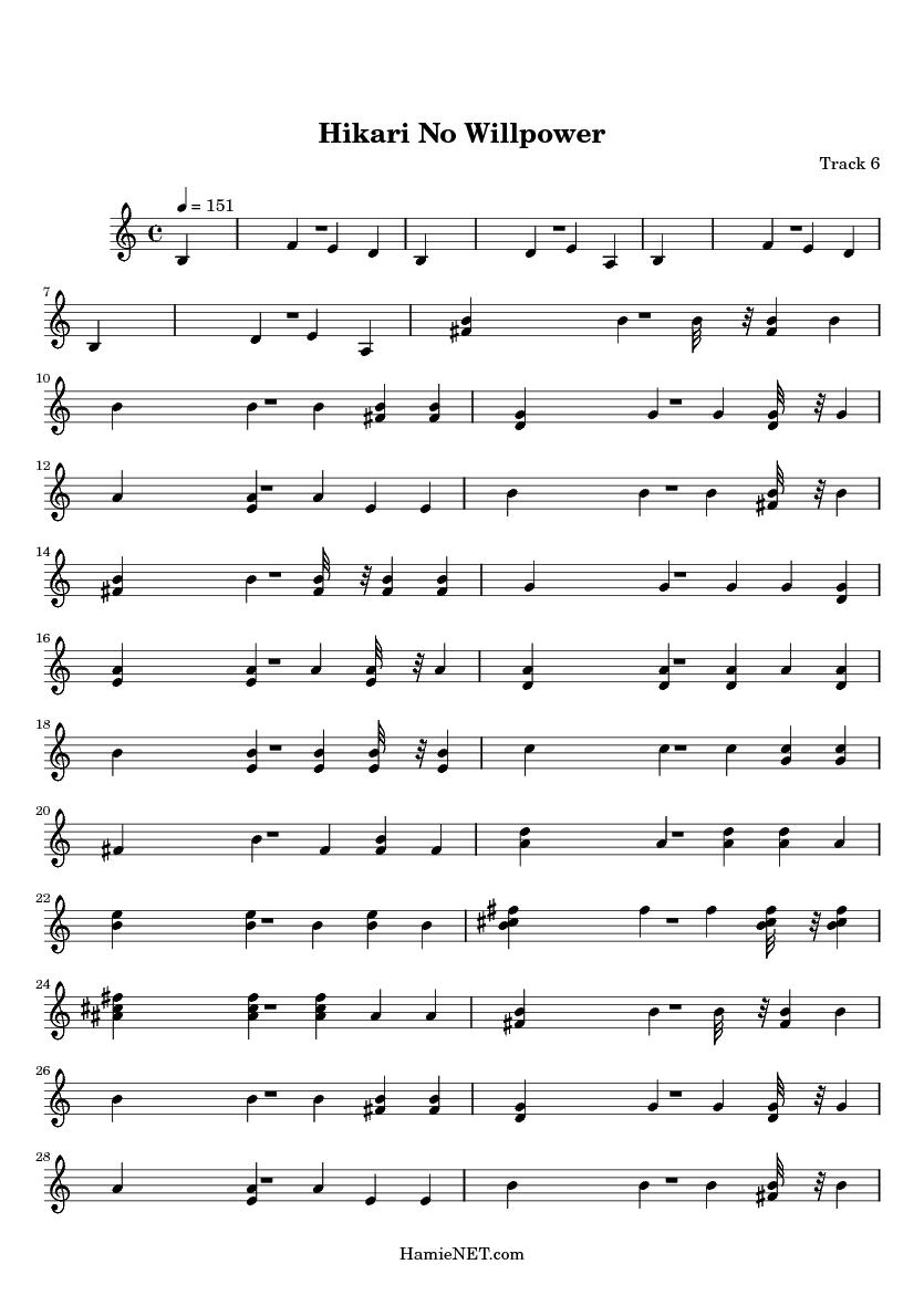 Hikari No Willpower Sheet Music - Hikari No Willpower Score