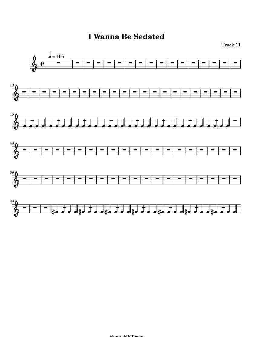 I want to be sedated lyrics