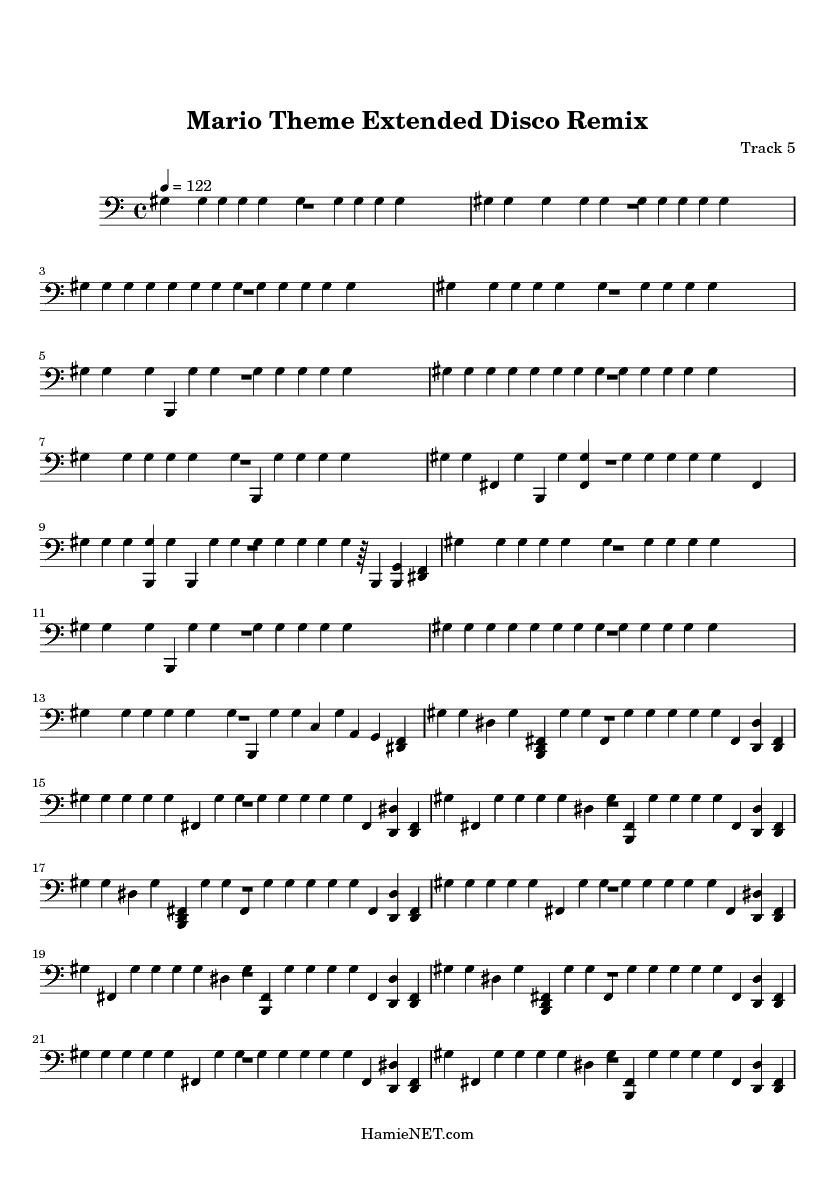 Mario theme extended disco remix sheet music mario theme extended