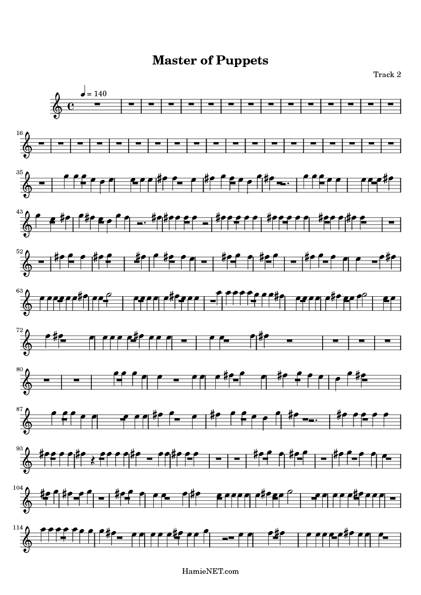 Master of Puppets Sheet Music - Master of Puppets Score ...