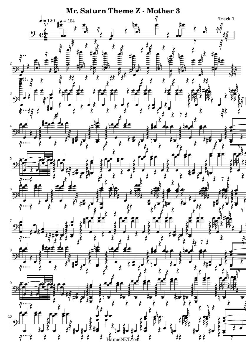 Mr  Saturn Theme Z - Mother 3 Sheet Music - Mr  Saturn Theme Z