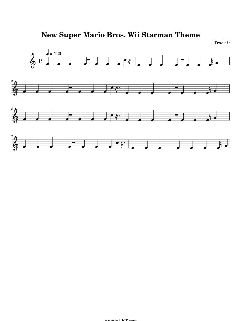 New super mario bros wii starman theme gt midi score track 9