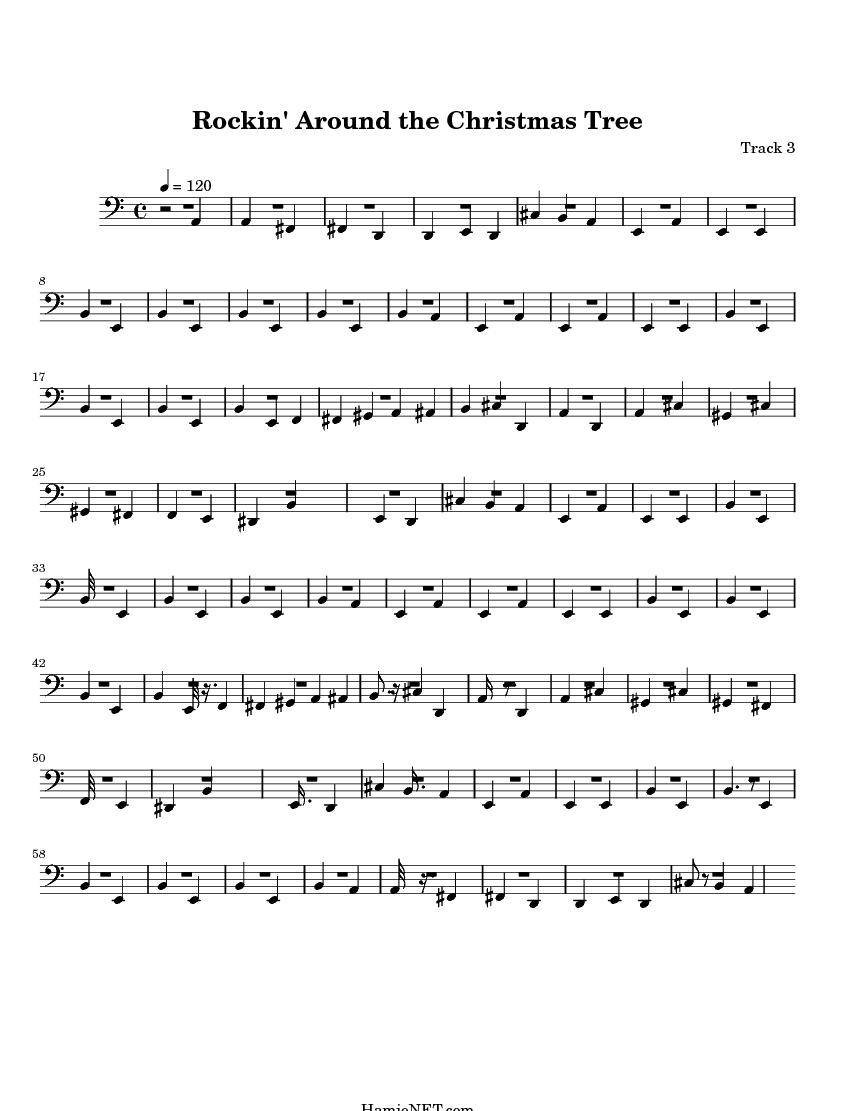 Exceptional Rockinu0027 Around The Christmas Tree U003e MIDI Score Track 3