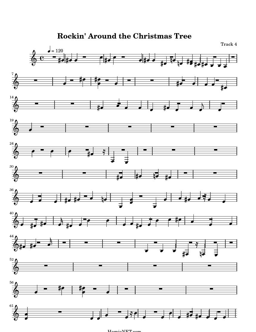 Rockinu0027 Around The Christmas Tree U003e MIDI Score Track 4