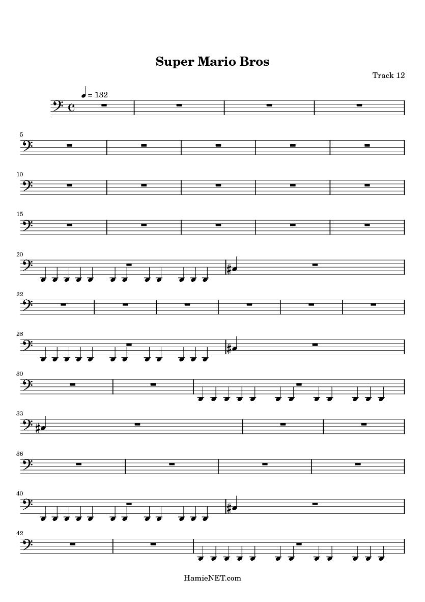 Super Mario Bros Sheet Music - Super Mario Bros Score • HamieNET com