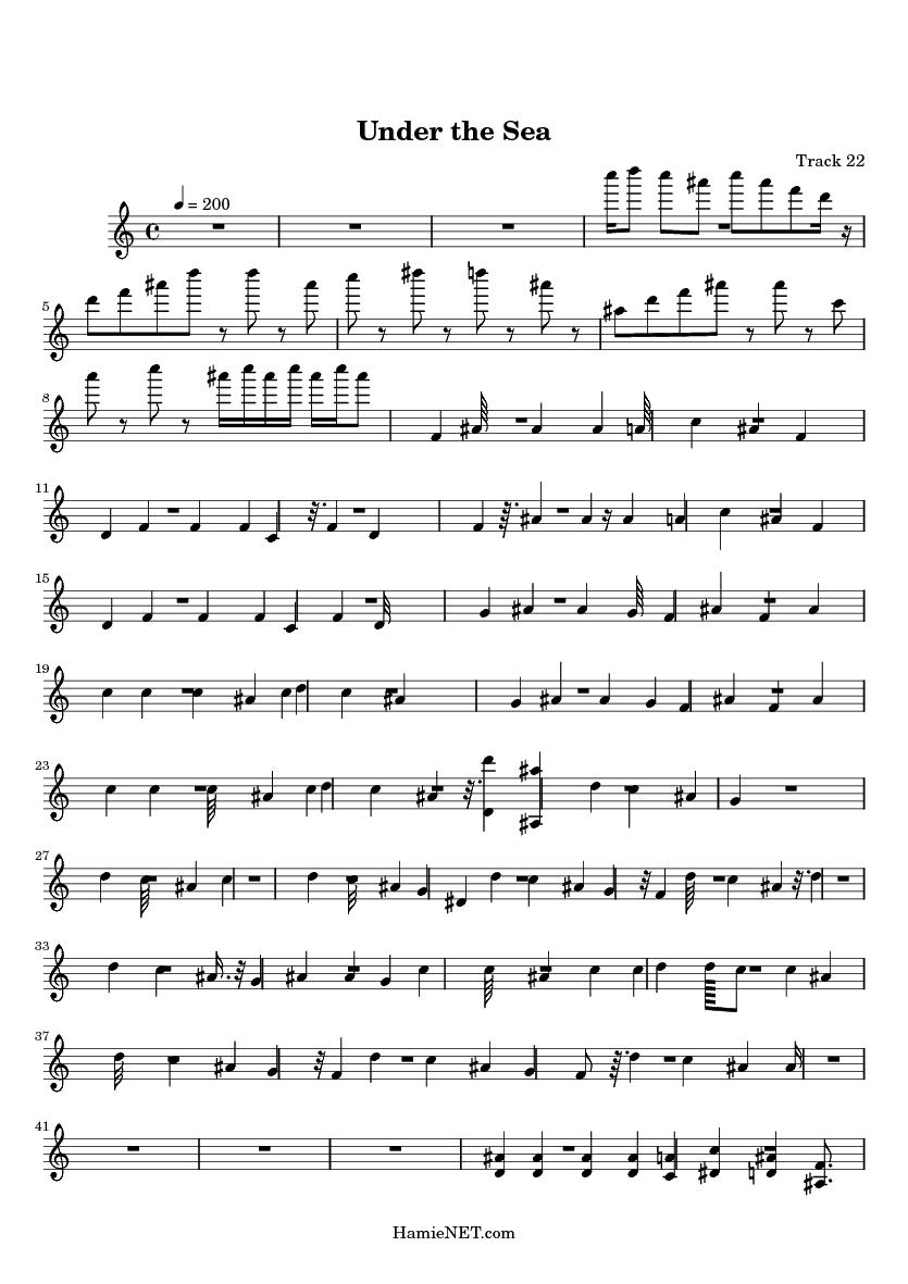 under the sea sheet music
