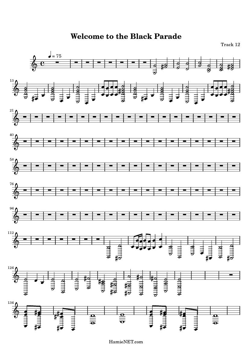 black parade piano sheet music