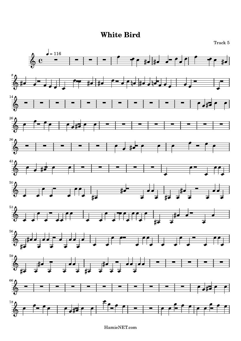 White Bird Sheet Music