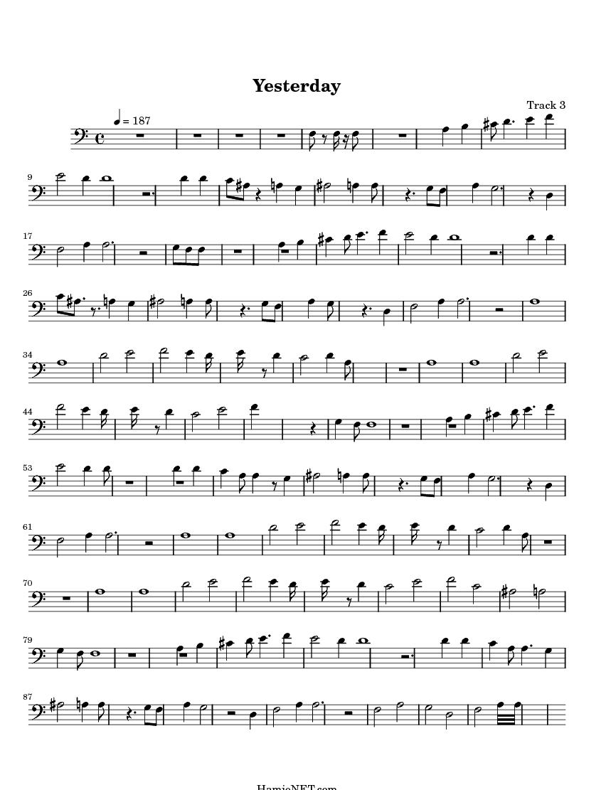 Yesterday > MIDI-Score Track 3