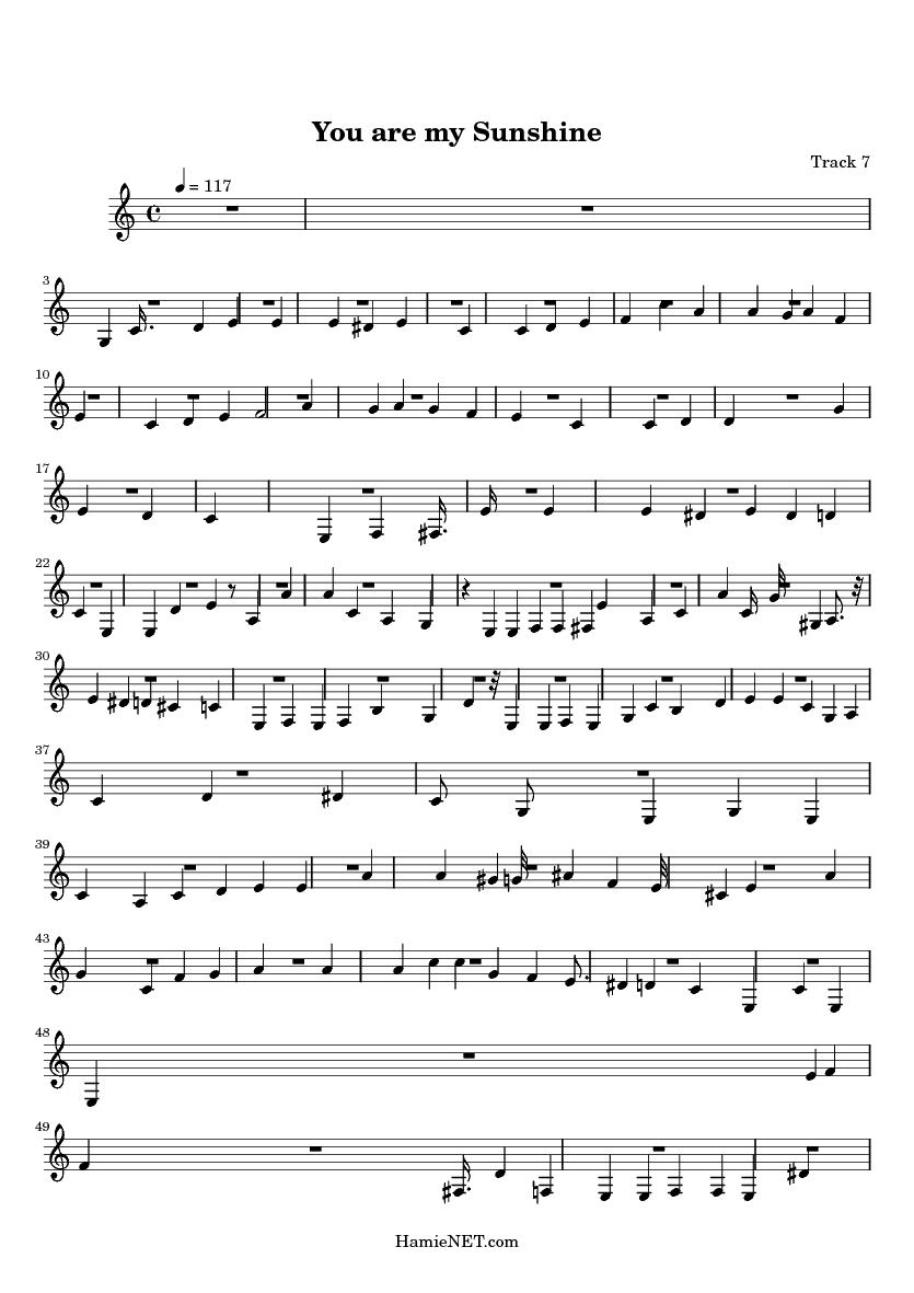 Sheet music you are my sunshine
