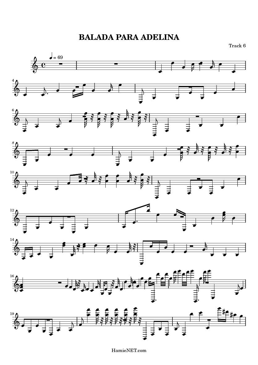 Balada Para Adelina Sheet Music Balada Para Adelina Score Hamienet Com