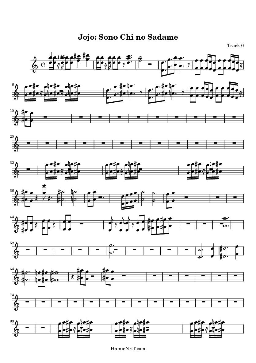 Jojo Sono Chi No Sadame Sheet Music Jojo Sono Chi No Sadame Score Hamienet Com Sono chi no sadame jojo. sadame score hamienet