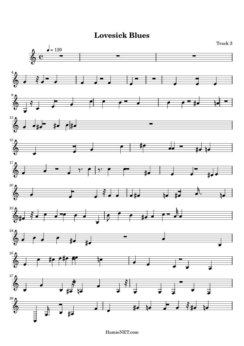 Lovesick Blues Sheet Music - Lovesick Blues Score • HamieNET com