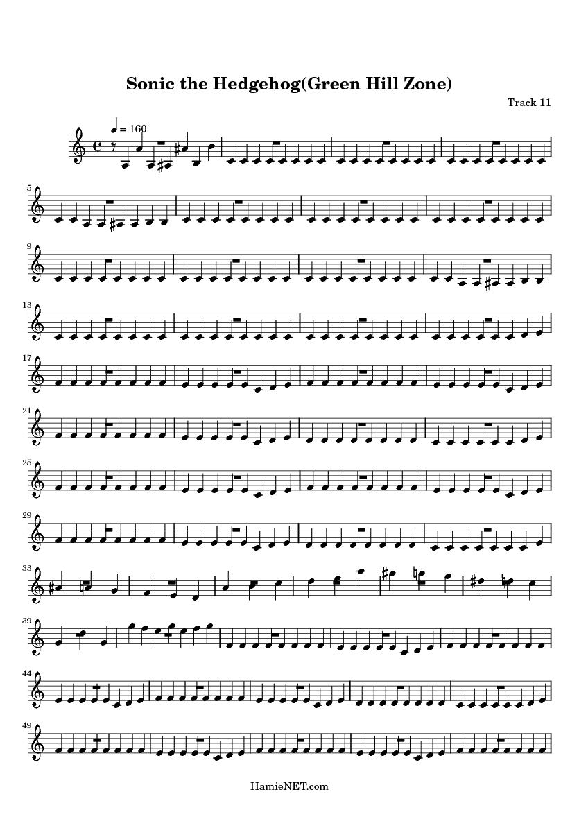 Sonic The Hedgehog Green Hill Zone Sheet Music Sonic The Hedgehog Green Hill Zone Score Hamienet Com